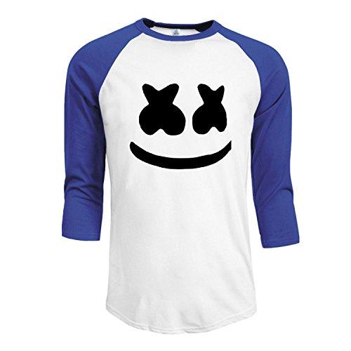 Poly Face (Men's Marshmello Face 3/4 Sleeve Raglan baseball Tee shirt XXL SkyBlue)