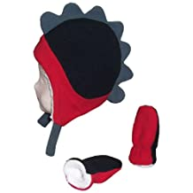 N'Ice Caps Boys Soft Sherpa Lined Micro Fleece Dino Hat and Mitten Set