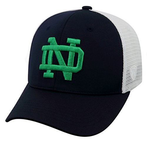 Top of the World NCAA-Ranger Trucker Mesh-Adjustable Snapback Hat Cap-Notre Dame Fighting Irish-White