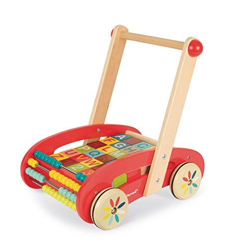 Janod - J05379 - Chariot Bois ABC Buggy Tatoo - 30 cubes