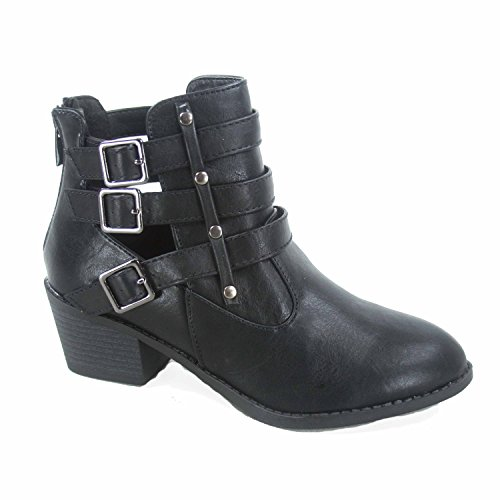 Forever Link Eury-1 Womens Fashion Round Toe Buckles Low Heel Ankle Booties Shoes