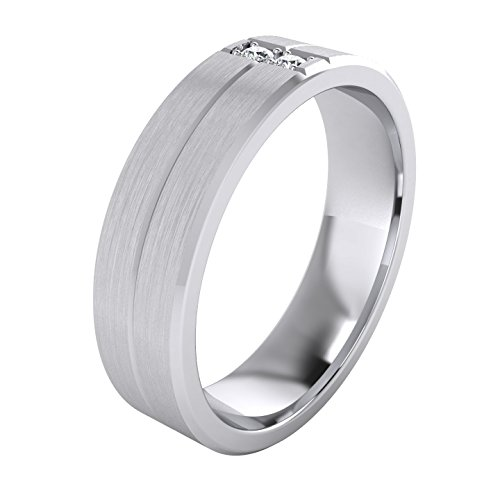 Heavy Sterling Silver 6mm Unisex Wedding Band Simulated Diamonds Ring Comfort Fit Grooved Brushed Bevelled Edges (11) by LANDA JEWEL