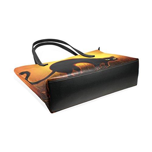 Coosun Halloween schwarze Katze PU Leder Schultertasche Handtasche und Handtaschen Tasche für Frauen