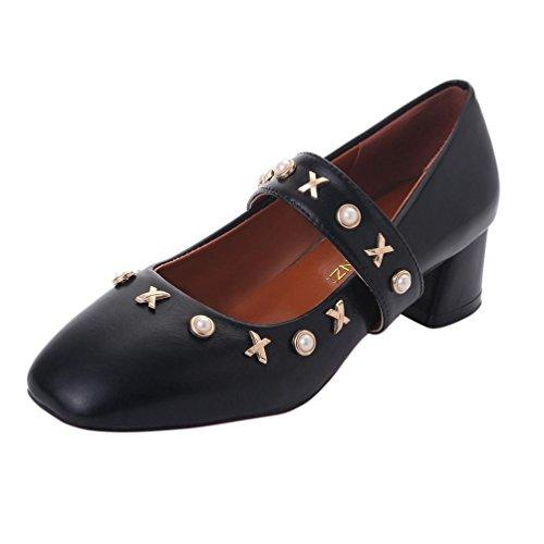 LHWY Sandalen Damen Zehentrenner Frauen Knöchelriemen Low Heel Nachahmung Pearl Freizeitschuhe Platz Heel Peep-Toe Schuhe Beige Schwarz Schwarz