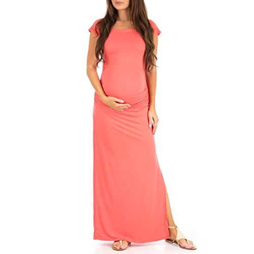(Women's Shortsleeve Ruched Bodycon Maternity Dress with Side Slits - Made in USA)