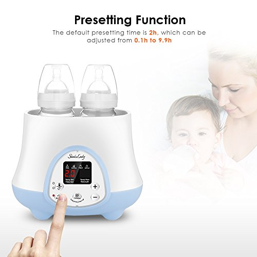 Baby Bottle Warmer Steam Sterilizer 4-in-1 Breast Milk Formula Baby Food Heater Intelligent Thermostatic System with LED Real-time,Fast Warming and Accurate Temperature Control (White) by ShakeLady (Image #1)