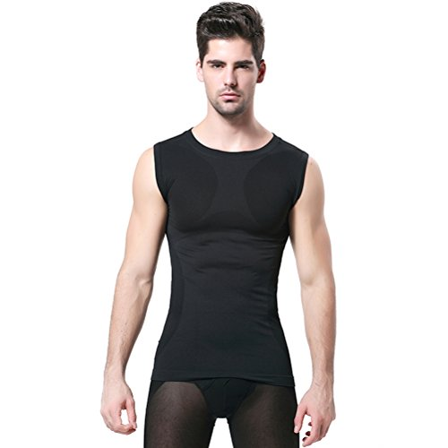 Mens Slimming Body Shaper Vest Shirt Abs Abdomen Slim