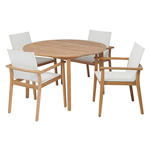 (POVL Outdoor Menlo Small Round Teak Dining Set with Sling Armchairs (Winter))