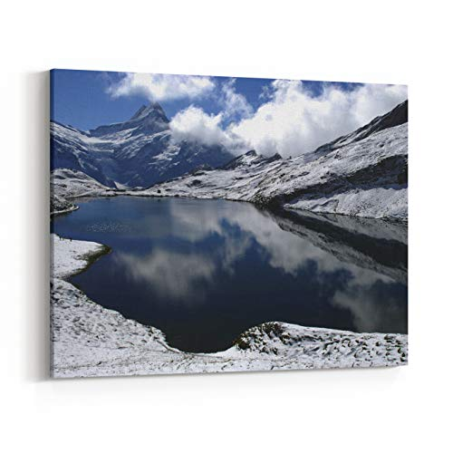 Rosenberry Rooms Canvas Wall Art Prints - Snow and Lakes in Swiss Alps in August, Faulhorn, Interlaken, Switzerland (14 x 11 inches)