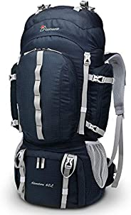Mountaintop 75/70L/60L Internal Frame Hiking Backpack with Rain Cover