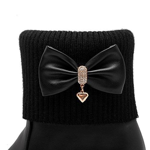 ... YE Damen Keilabsatz Ankle Boots Stiefeletten mit Schleife und Erhöhung  Süß Bequem Warm Schuhe Schwarz ... a100adae7b