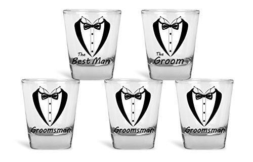Wedding and Bachelor Party 5 Pack Shot Glasses Funny Tuxedo Novelty Groom, Best Man, Groomsmen Shot Glasses | Great for Groom, The Best Man and Groomsmen Bachelor Party by Mad Ink Fashions by Mad Ink Fashions