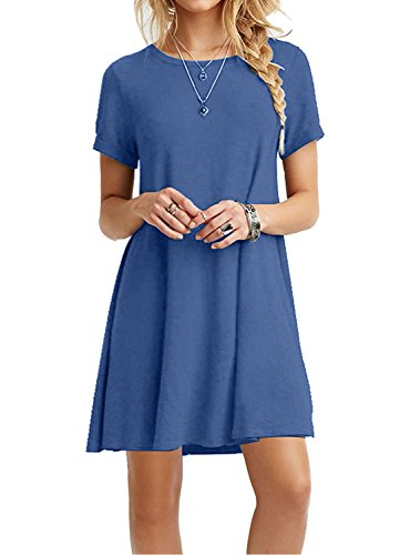 MOLERANI Women Summer Casual T Shirt Dresses Beach Cover up Plain Pleated Dress Beja Blue M