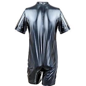 - 41z4IvldcvL - CHICTRY Men Gay Sexy Faux Leather Bodysuit Kinky Wet Look Clubwear Costume