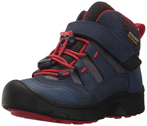 KEEN Kids' Hikeport Mid WP Hiking Boot, Dress Blues/Fiery Red, 1 Youth US Big Kid -