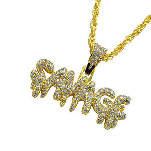 SPORTTIN Gold Necklace for Men Women SAVADF Pendant Diamond Figaro Chain Hip Hop Stainless Steel(Gold,Freesize)