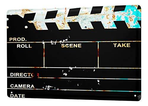 LEotiE SINCE 2004 Tin Sign M.A. Allen Retro Deco cinema shooting day U.S. premiere Hollywood 20x30 cm panel Large Metal Wall Decoration Vintage Retro Classic Plaque -