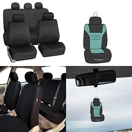 (FH Group FB083115 Premium Neoprene Seat Covers, Airbag & Split Compatible w. Free Air Freshener, Black Color - Fit Most Car, Truck, SUV, or Van)