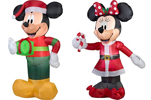 5 Feet Tall Airblown Self Inflatable Mickey And Minnie Mouse With Energy Efficient LED | Inflatable Mickey And Minnie Christmas Yard (Mickey Mouse Costume Rental For Adults)
