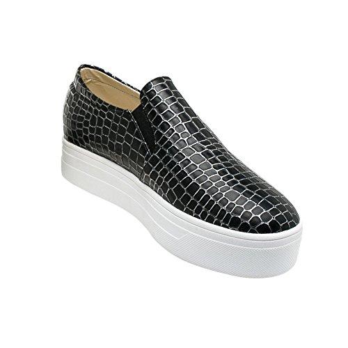 Charme Voet Dames Platform Casual Comfort Penny Loafers Schoenen Zwart