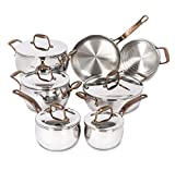 Lagostina L415629612 Bronze Elegance Stainless Steel 12-Piece Cookware Set, Silver, Large