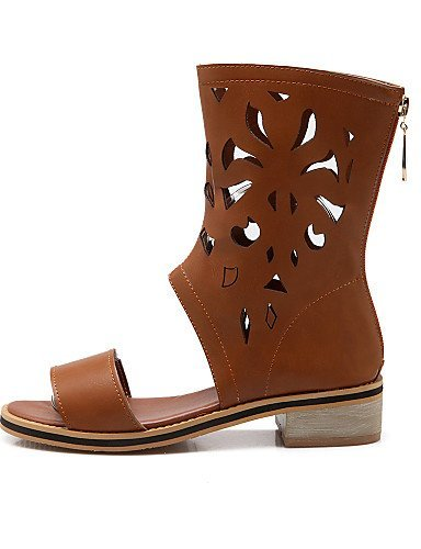 ShangYi Women's Shoes Low Heel Comfort / Open Toe Sandals Casual Black / Yellow / Beige Beige zLE3wzId