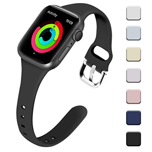 Allbingo Thin Bands Compatible with Apple Watch Band 38mm 40mm 42mm 44mm, Feminine Women Narrow Slim Silicone Replacement Wristbands for iWatch Series 4 Series 3 Series 2 Series 1