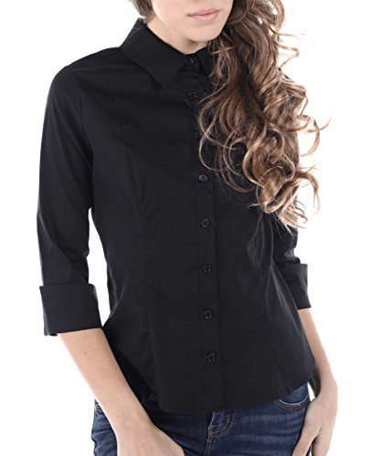 - Womens Classic 3/4 Sleeve Fitted Shirts, Made in USA (Large, Black)