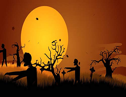 Zombie Graveyard Silhouette Happy Halloween Edible Cake Topper Image C01 - 1/2 sheet