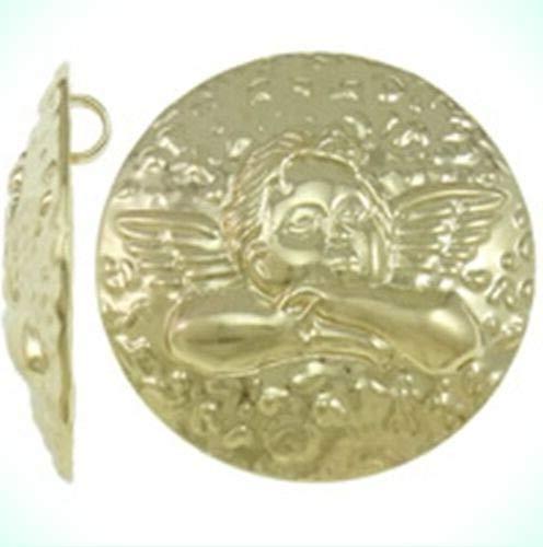 Large Golden Cherub Angel 45mm Domed Round Focal Pendant