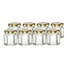 Cafe Cubano® Small Mini Hexagon Glass Jars 1.5 Oz Perfect Storing Honey, Jam, for Wedding Favors, Showers, Spices, and Baby Foods (8 Jars)