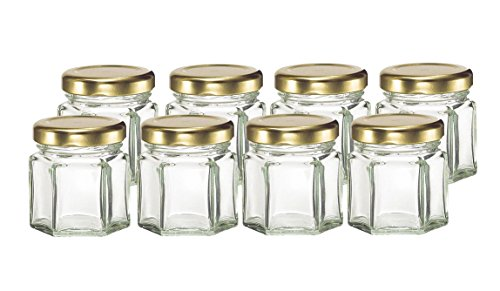 Cafe Cubano® Small Mini Hexagon Glass Jars 1.5 Oz Perfect