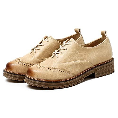 Classique à Beige Chaussure warm Femmes Lacets TAOFFEN Brogue 5Z7Pw