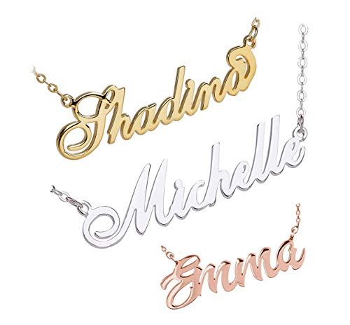 (Shineyou Personalized Name Necklace Custom Necklace for Women Wife Grilfriend Rose Gold 925 Sterling Silver Necklaces Best Gifts)