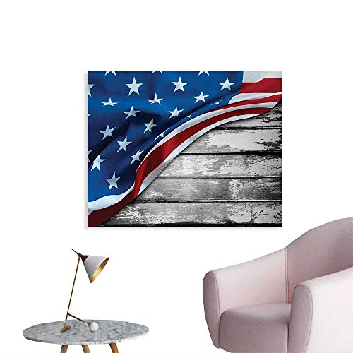 Tudouhoho American Flag Wall Poster Close Up Design Flag Over Antique Rustic Rippled Board Federal Country Art Art Decor Decals Stickers Grey Navy W48 -