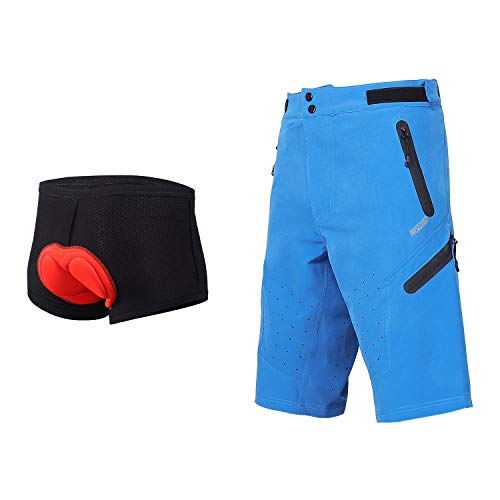 ARSUXEO Outdoor Sports Men's MTB Cycling Shorts Mountain Bike Shorts Water Resistant Blue with pad Size Large