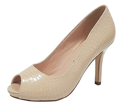 Pepe-12 Women's Open Toe Patent Comfort Fit Classic Party Date Platform Dress Heels Pumps shoes Nude 9