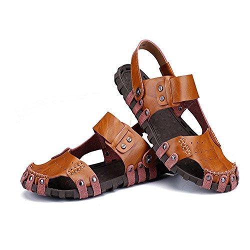 Size spiaggia regolabili la 40 libero coperto pelle adatti EU in sandali e al all'aperto il antiscivolo 2 Brown Color uomo Black 3 per sandali per da Sandali traspiranti tempo P0vxCwg0q