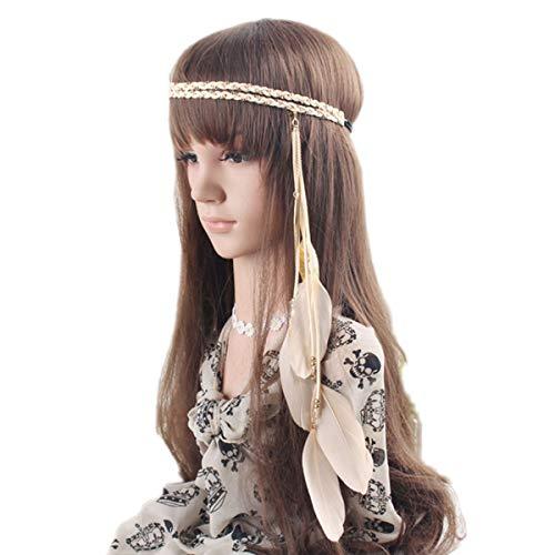 BUYITNOW Women Feather Headband Stretchy Braided Leaf Bead Hair Tassels