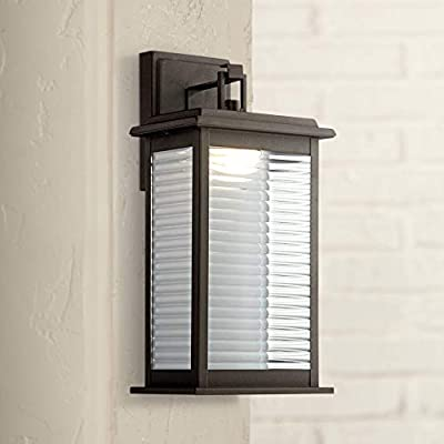 "Marguerite Modern Outdoor Wall Light Fixture LED Black Steel 14 3/4"" Clear Ribbed Glass for Exterior House Porch Patio Deck - John Timberland"
