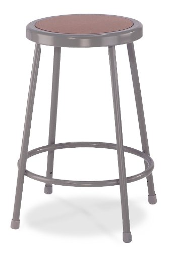 National Public Seating 6224-CN  Grey Steel Stool with 24'' Hardboard Seat (Pack of 4) by National Public Seating