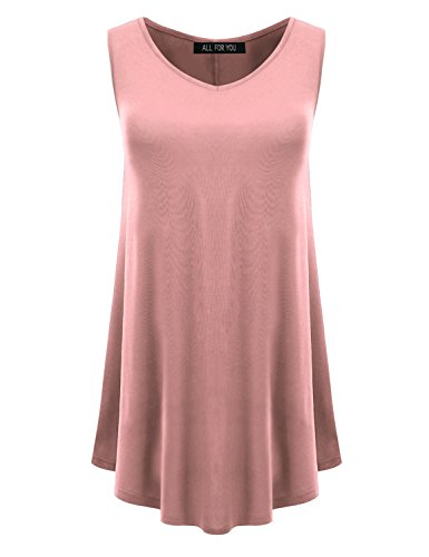 (All for You Women's Sleeveless Round Hem V-Neck Tunic Top Dusty Pink XXX-Large)
