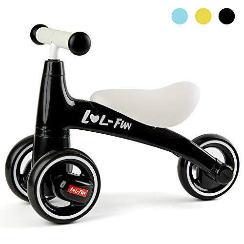 LOL-FUN Baby Balance Bike for 1 Year Old Boy and Girl Gifts, Toddler Bike for One Year Old First Birthday Gifts – Black