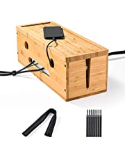 Sunix Cable Management Box, Cord Organizer to Cover and Hide & Power Strips & Cords, Natural Bamboo Power Cover Electrical Wire Holder Hider, 8 Cable Ties