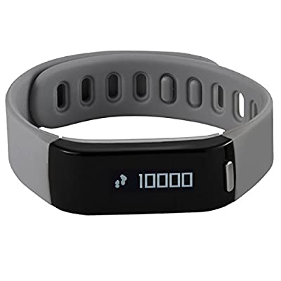 HeHa Waterproof Bluetooth Functional Activity and Sleep Fitness Tracker Band Wristband for iPhone 7 5 5s 6 6s Plus iOS Compatible Gray