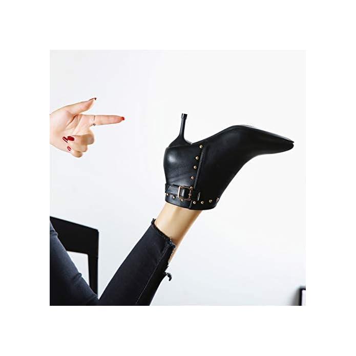 Lbtsq-sexy Cinghie Fibbie Puntata Capi Rivetti Stivali Di Pelle Solo Gli 6cm Sottile Tacchi In Mezzo Alle Calcagna E Nudi Scarpe Da Sposa