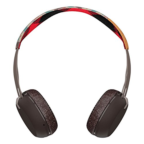 Skullcandy Grind Bluetooth Wireless On-Ear Headphones with Built-In Mic and Remote, Gray/Plaid