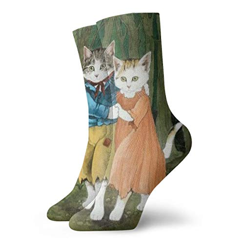 SARA NELL Unisex Adult Novelty Funny Crazy Crew Sock Cat Couple is Dancing Tango 3D Printed Winter Thick Sport Athletic Socks Personalized Gift Socks]()