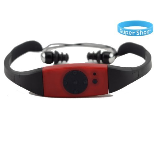 Supershop® 4GB Swimming Diving Water Waterproof MP3 Player FM Radio Earphone Red (Waterproof Player Mp3 Radio And)