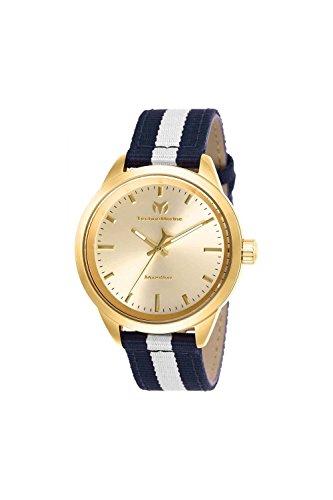 Technomarine Women's 'MoonSun' Quartz Stainless Steel and Nylon Casual Watch, Color:Blue (Model: TM-117006)
